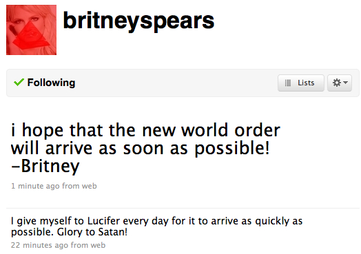 Britney Spears Twitter account hacked