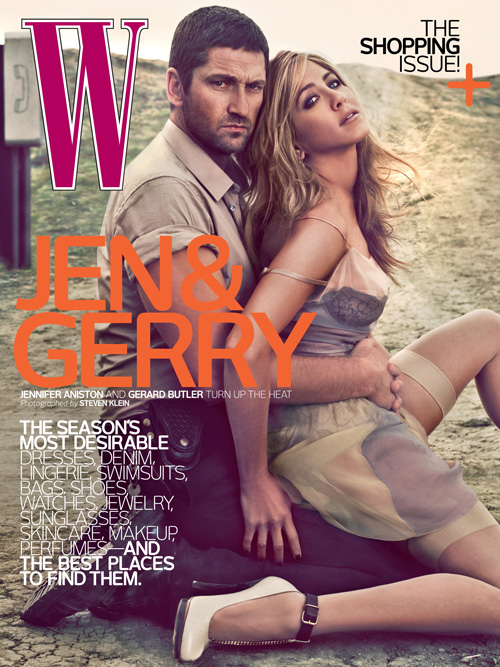 Jennifer Aniston and Gerard Butler: Dusty cover at W magazine